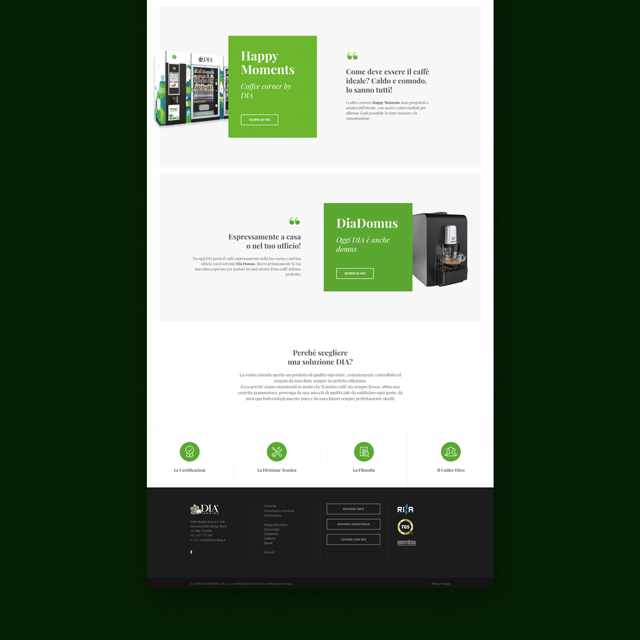 DIA Vending Website